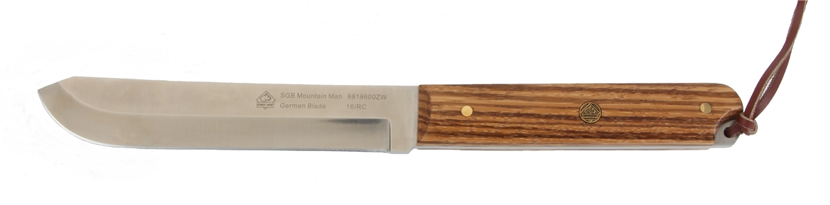 PUMA SGB Mountain Man Zebra Wood Hunting Knife with Leather Sheath