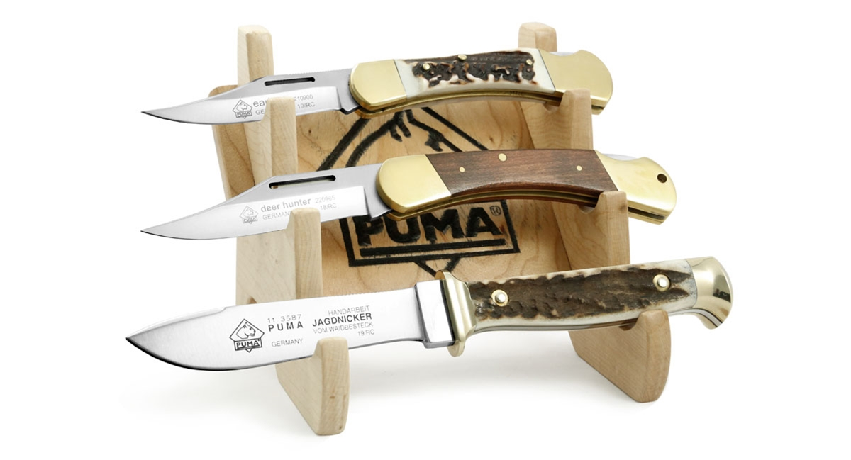 Puma Knives Wood 3 Knife Display (knives not included)