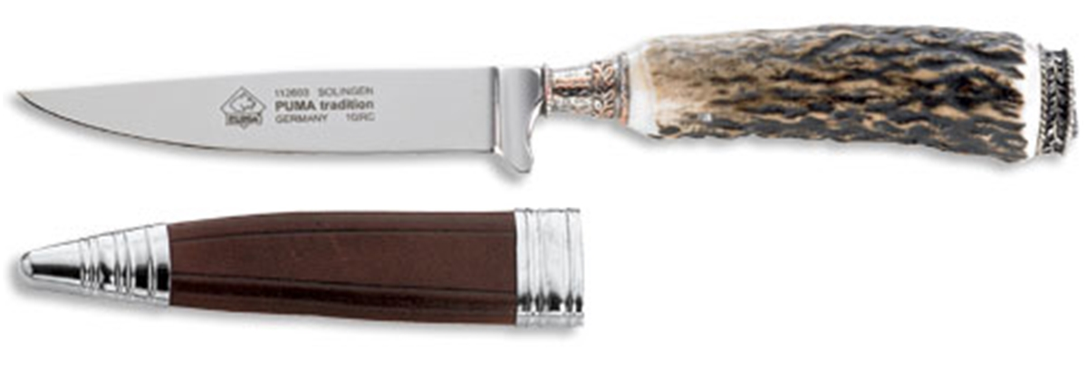 Puma Tradition Stag Horn German Hunting Knife with Leather Sheath - Special Order Please Allow 6 - 8 Weeks for Delivery