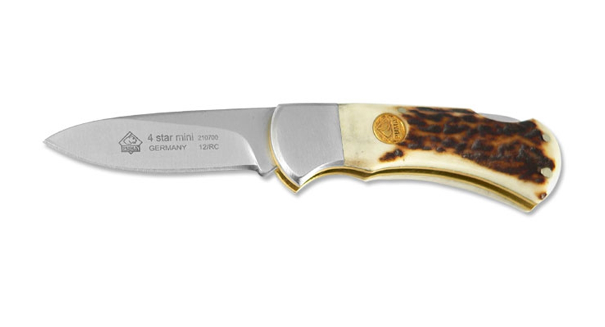 Puma 4-Star Mini Staghorn German Made Folding Pocket Knife - Special Order Please Allow 6 - 8 Weeks for Delivery