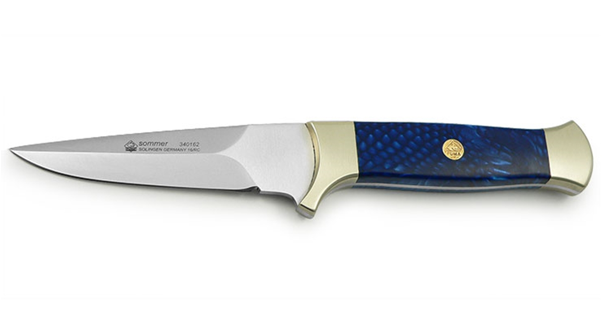 Puma Summer Blue Snake Handle German Made Hunting Knife with Leather Sheath - Special Order Please Allow 6 - 8 Weeks for Delivery