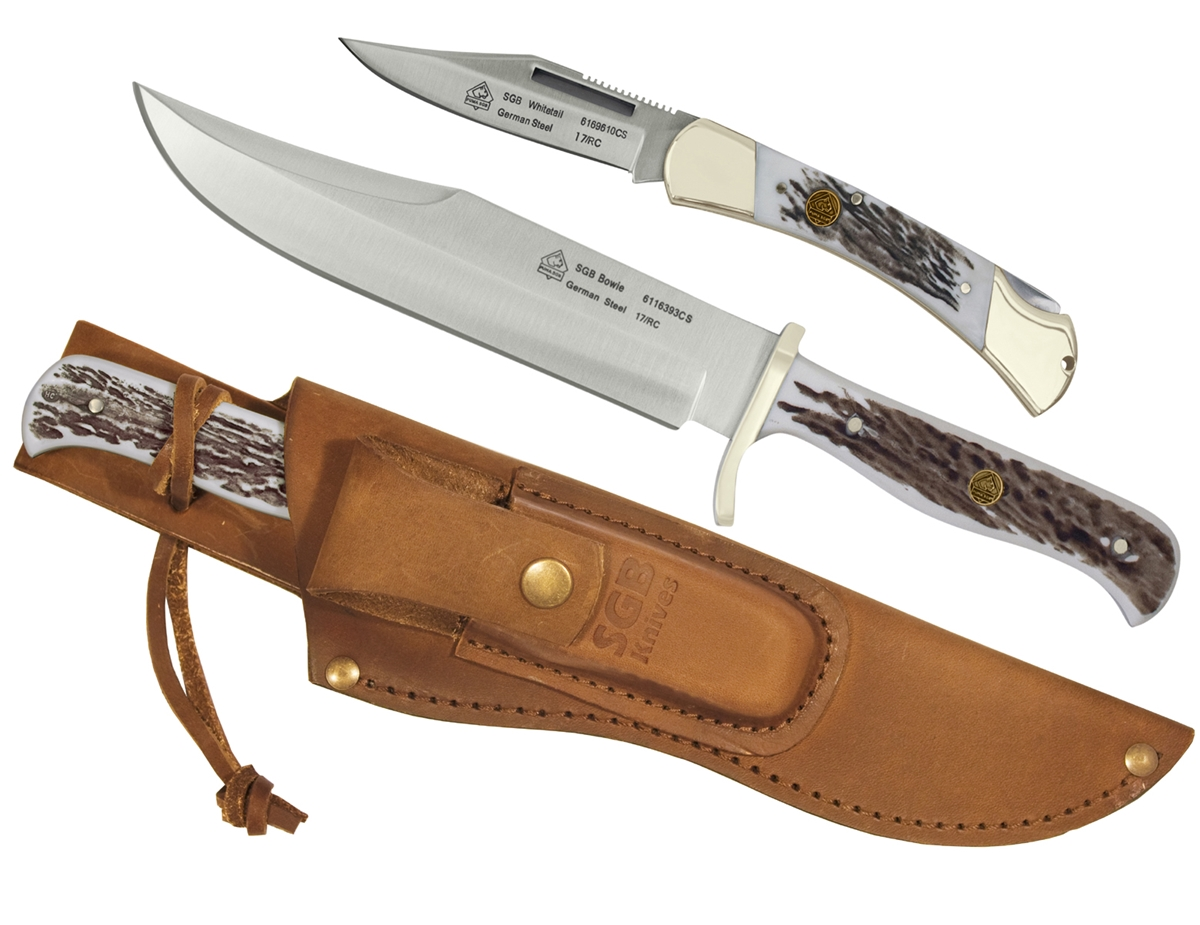 Puma SGB Bowie / Whitetail Commando Stag Outdoorsman Combo  with Leather Sheath (2 Knife Set)