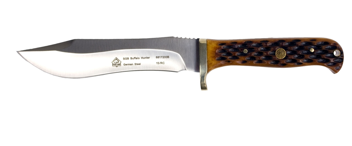 Puma SGB Buffalo Hunter Jigged Bone Hunting Knife with Leather Sheath