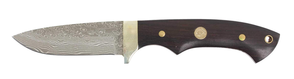 Puma TEC Blacktail Damascus Sandalwood Hunting Knife with Leather Sheath