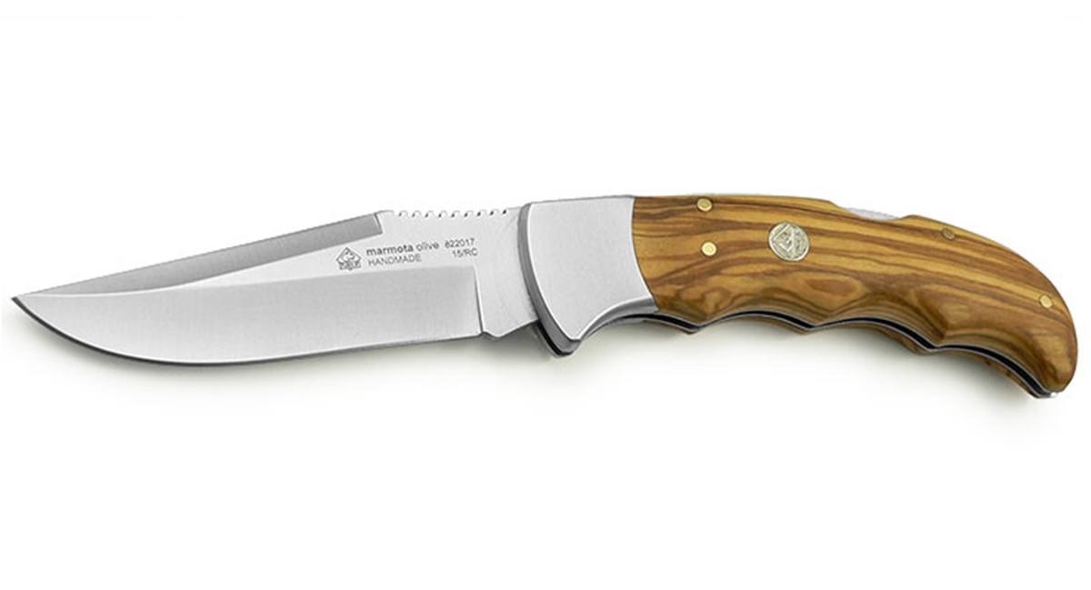 Puma IP Marmota Olive Wood Handle Spanish Made Folding Hunting Knife - Special Order Please Allow 6 - 8 Weeks for Delivery