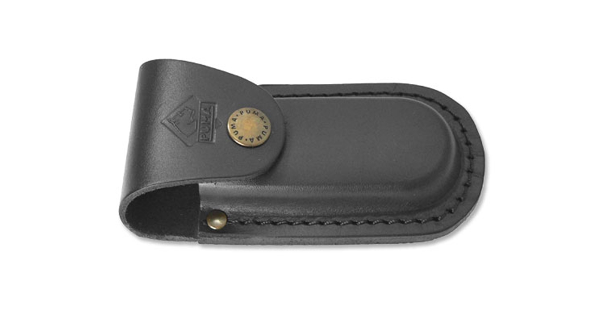 "Puma German Black Leather Belt Pouch / Sheath for Folding Knives (4"" Folder)"