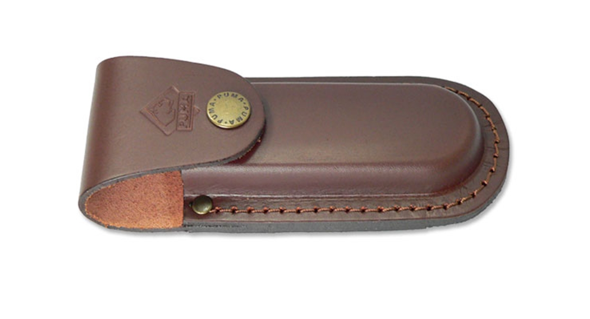 "Puma German Brown Leather Belt Pouch / Sheath for Folding Knives (5"" Folder)"
