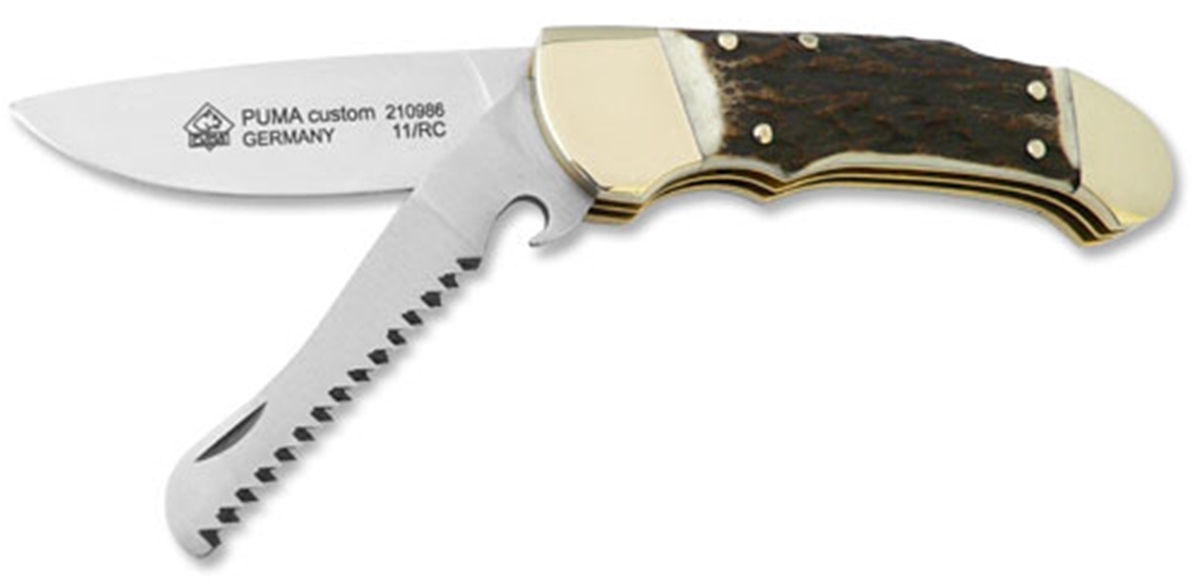 Puma Custom with Saw Stag Handle German Made Folding Hunting Knife