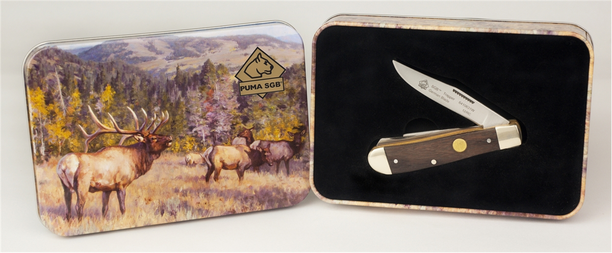 PUMA SGB Trapper Jacaranda Wood Folding Pocket Knife with Gift Tin