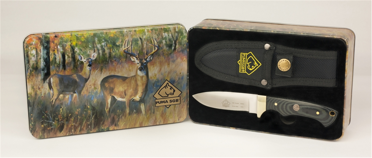Puma SGB Blacktail Micarta Hunting Knife with Nylon Sheath and Gift Tin