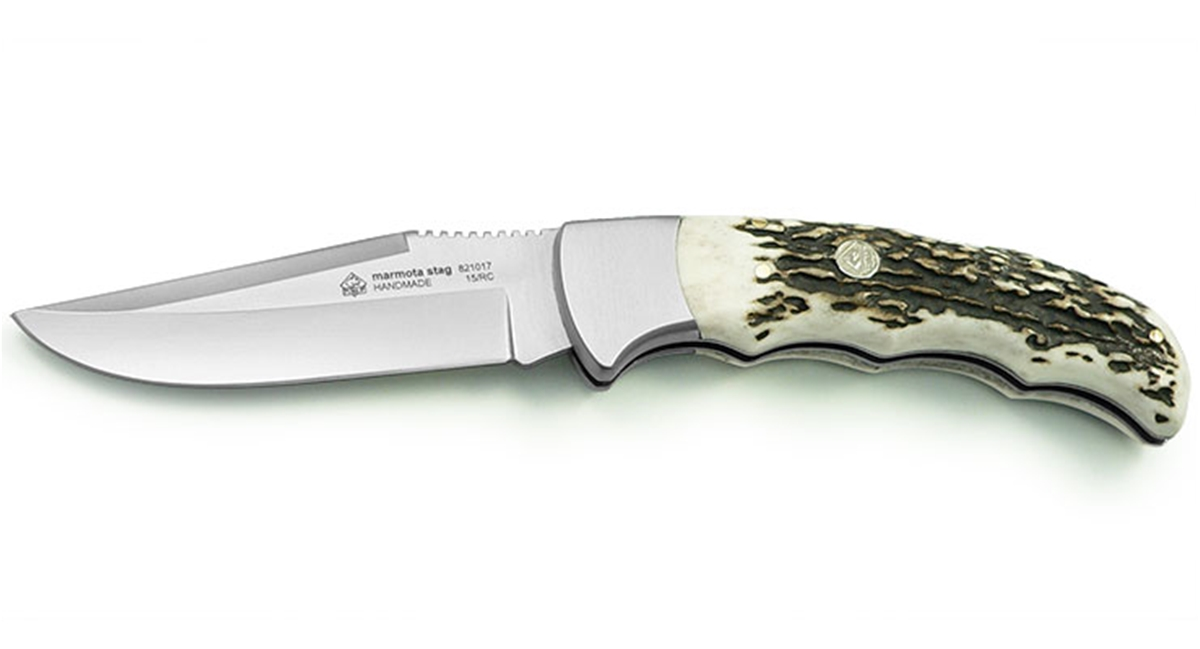 Puma IP Marmota Stag Handle Spanish Made Folding Hunting Knife - Special Order Please Allow 6 - 8 Weeks for Delivery