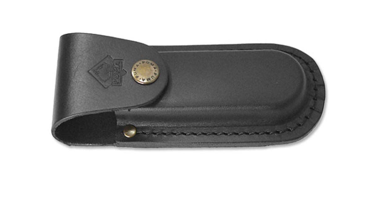 "Puma German Black Leather Belt Pouch / Sheath for Folding Knives (5"" Folder)"