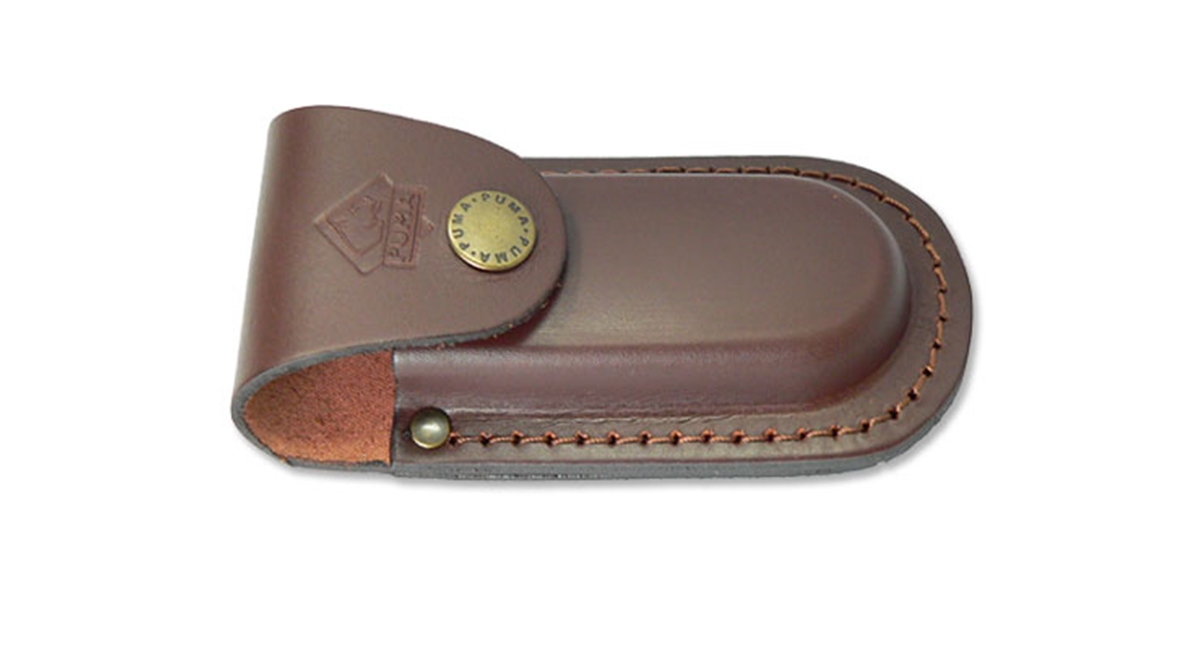 "Puma German Brown Leather Belt Pouch / Sheath for Folding Knives (4"" Folder)"
