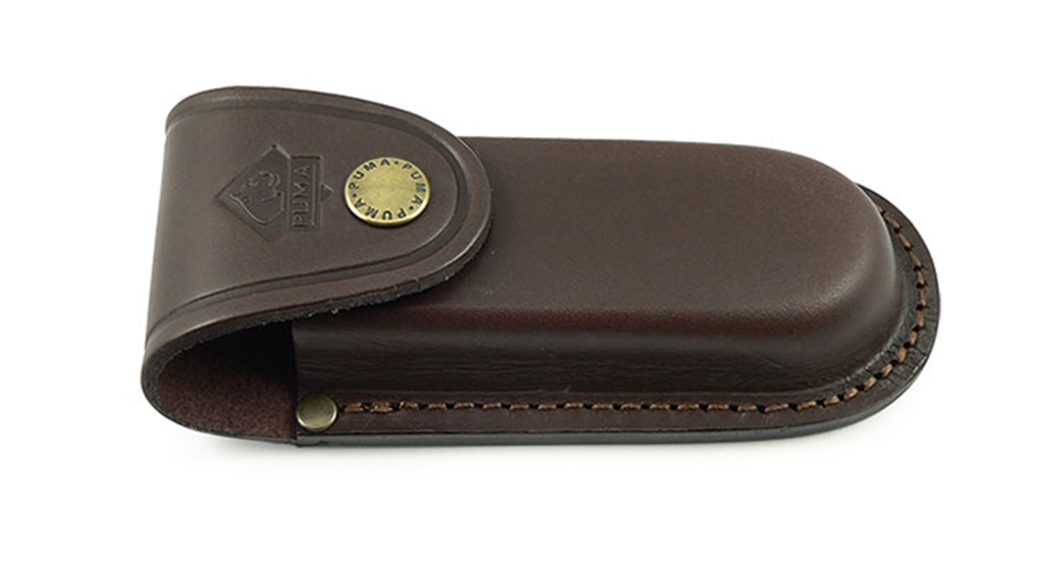 Puma German Brown Leather Belt Pouch / Sheath for Folding Knives