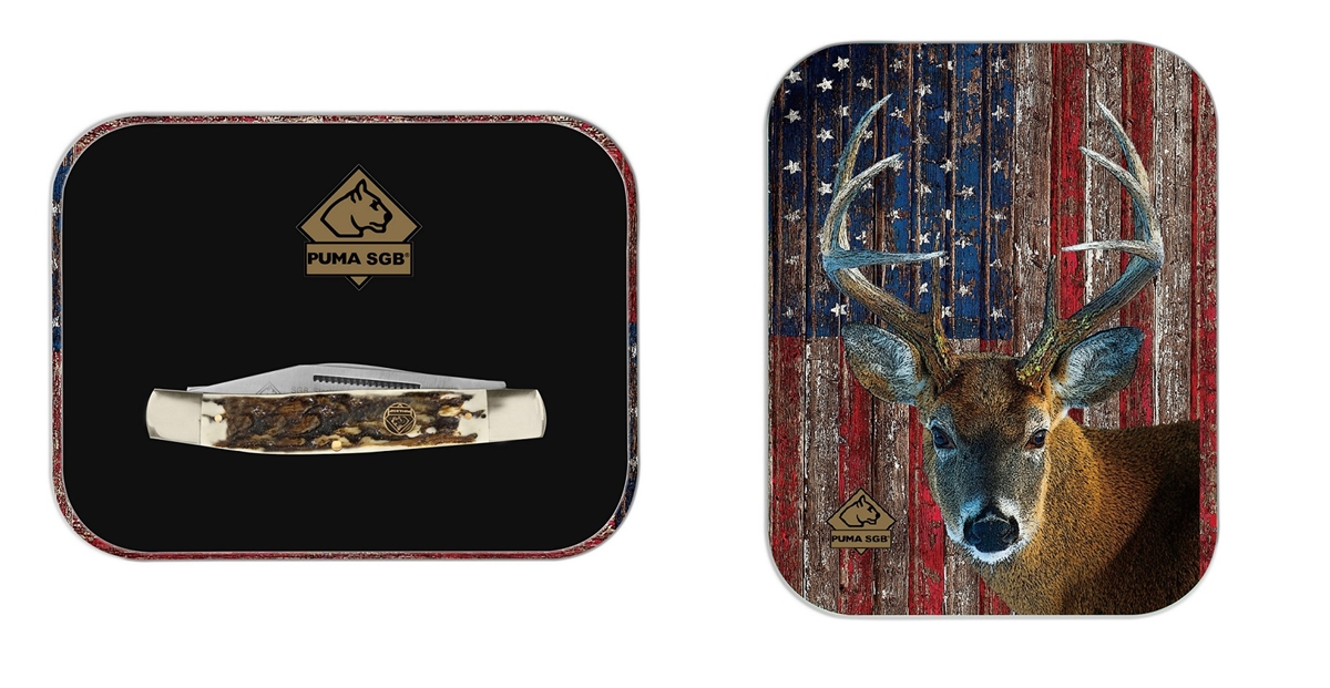 Puma SGB Stockman POM Commando Stag Folding Pocket Knife with Patriot Deer Gift Tin